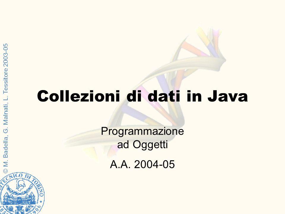© M. Badella, G. Malnati, L. Tessitore 2003-05 Programmazione ad Oggetti A.A. 2004-05 Collezioni di dati in Java