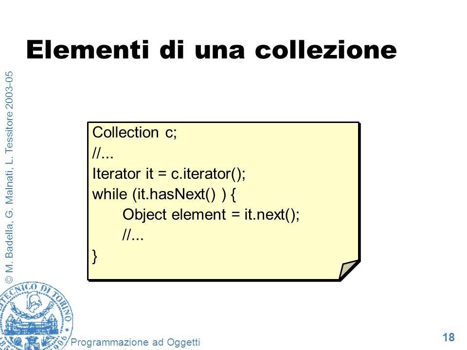 18 © M. Badella, G. Malnati, L. Tessitore 2003-05 Programmazione ad Oggetti Elementi di una collezione Collection c; //... Iterator it = c.iterator();
