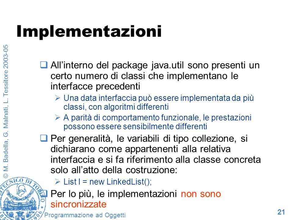 21 © M. Badella, G. Malnati, L. Tessitore 2003-05 Programmazione ad Oggetti Implementazioni Allinterno del package java.util sono presenti un certo nu