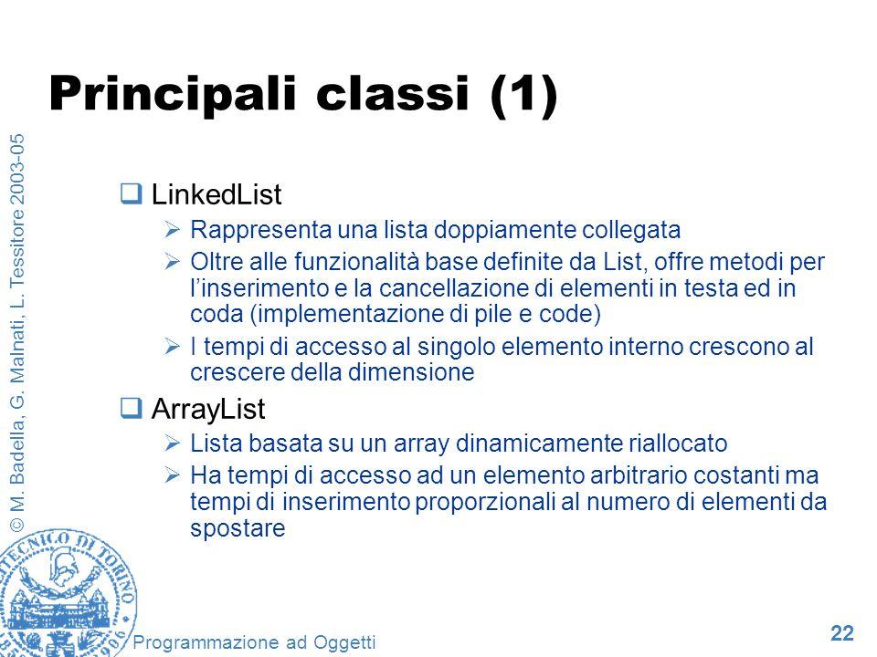 22 © M. Badella, G. Malnati, L. Tessitore 2003-05 Programmazione ad Oggetti Principali classi (1) LinkedList Rappresenta una lista doppiamente collega