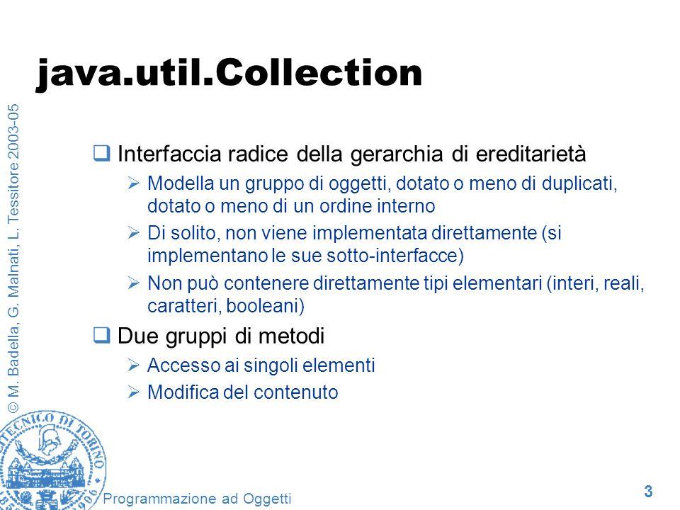 3 © M. Badella, G. Malnati, L. Tessitore 2003-05 Programmazione ad Oggetti java.util.Collection Interfaccia radice della gerarchia di ereditarietà Mod