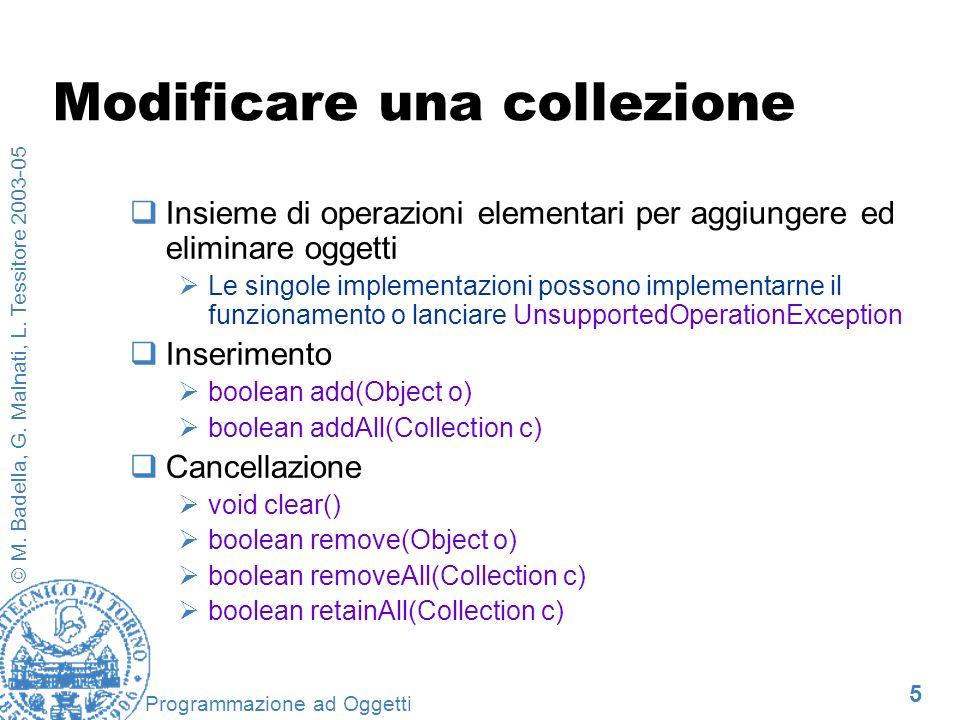 5 © M. Badella, G. Malnati, L. Tessitore 2003-05 Programmazione ad Oggetti Modificare una collezione Insieme di operazioni elementari per aggiungere e