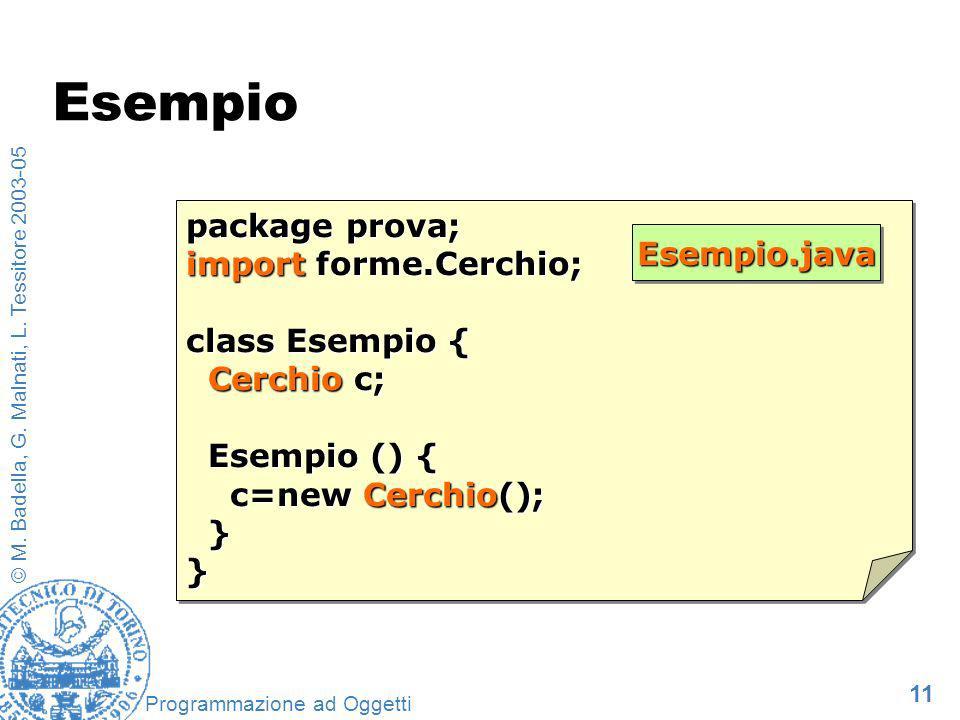 11 © M. Badella, G. Malnati, L. Tessitore 2003-05 Programmazione ad Oggetti Esempio package prova; import forme.Cerchio; class Esempio { Cerchio c; Ce