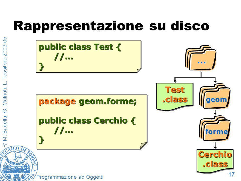 17 © M. Badella, G. Malnati, L. Tessitore 2003-05 Programmazione ad Oggetti package geom.forme; public class Cerchio { //…} package geom.forme; public