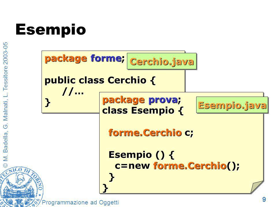 9 © M. Badella, G. Malnati, L. Tessitore 2003-05 Programmazione ad Oggetti package forme; public class Cerchio { //…} package forme; public class Cerc