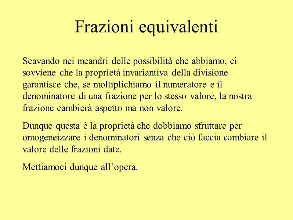 Frazioni equivalenti Scavando nei meandri delle possibilità che abbiamo, ci sovviene che la proprietà invariantiva della divisione garantisce che, se