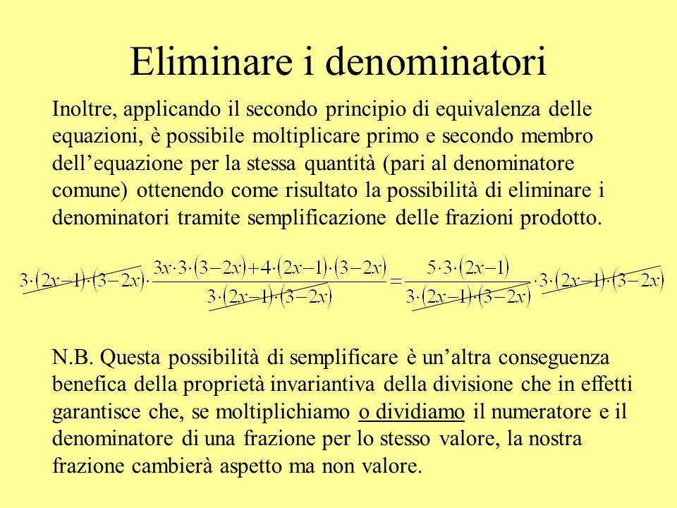 Eliminare i denominatori Inoltre, applicando il secondo principio di equivalenza delle equazioni, è possibile moltiplicare primo e secondo membro dell