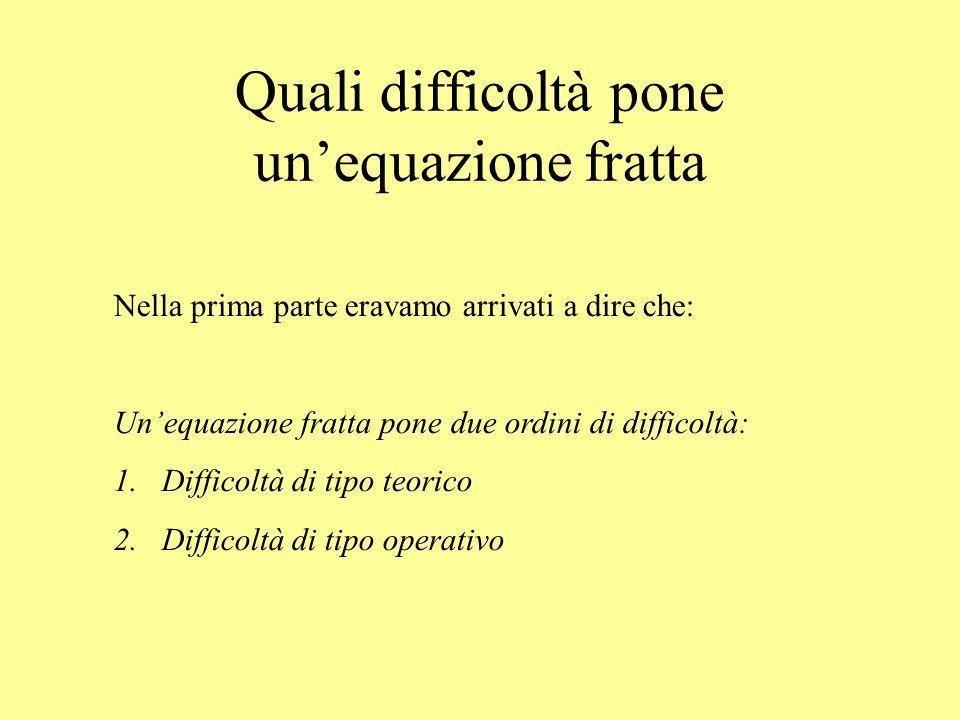 Quali difficoltà pone unequazione fratta Nella prima parte eravamo arrivati a dire che: Unequazione fratta pone due ordini di difficoltà: 1.Difficoltà