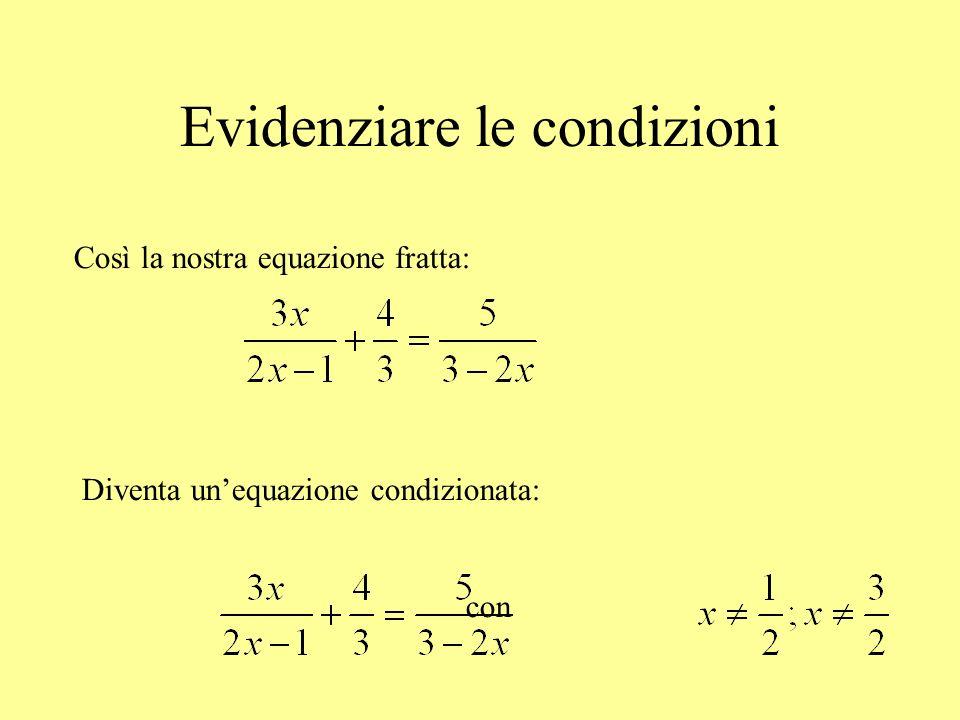 Evidenziare le condizioni Così la nostra equazione fratta: Diventa unequazione condizionata: con