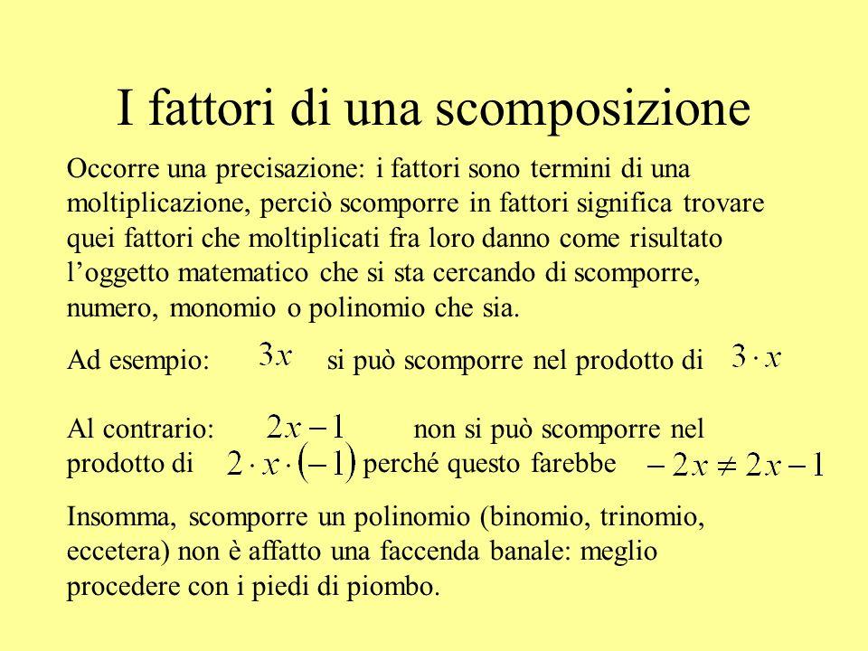 I fattori di una scomposizione Occorre una precisazione: i fattori sono termini di una moltiplicazione, perciò scomporre in fattori significa trovare