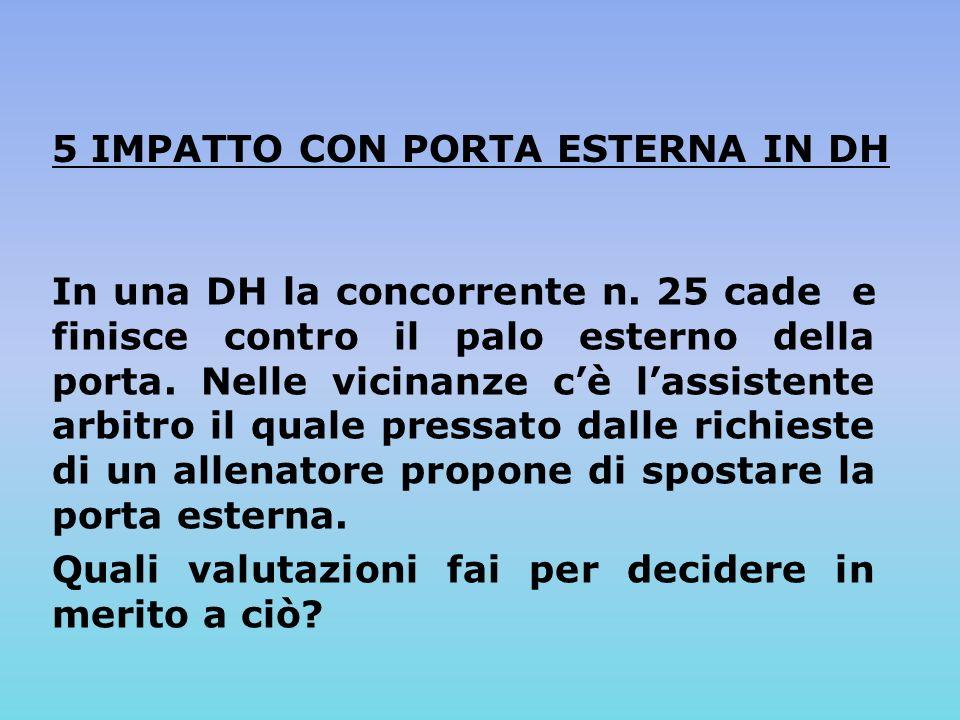 5 IMPATTO CON PORTA ESTERNA IN DH In una DH la concorrente n.