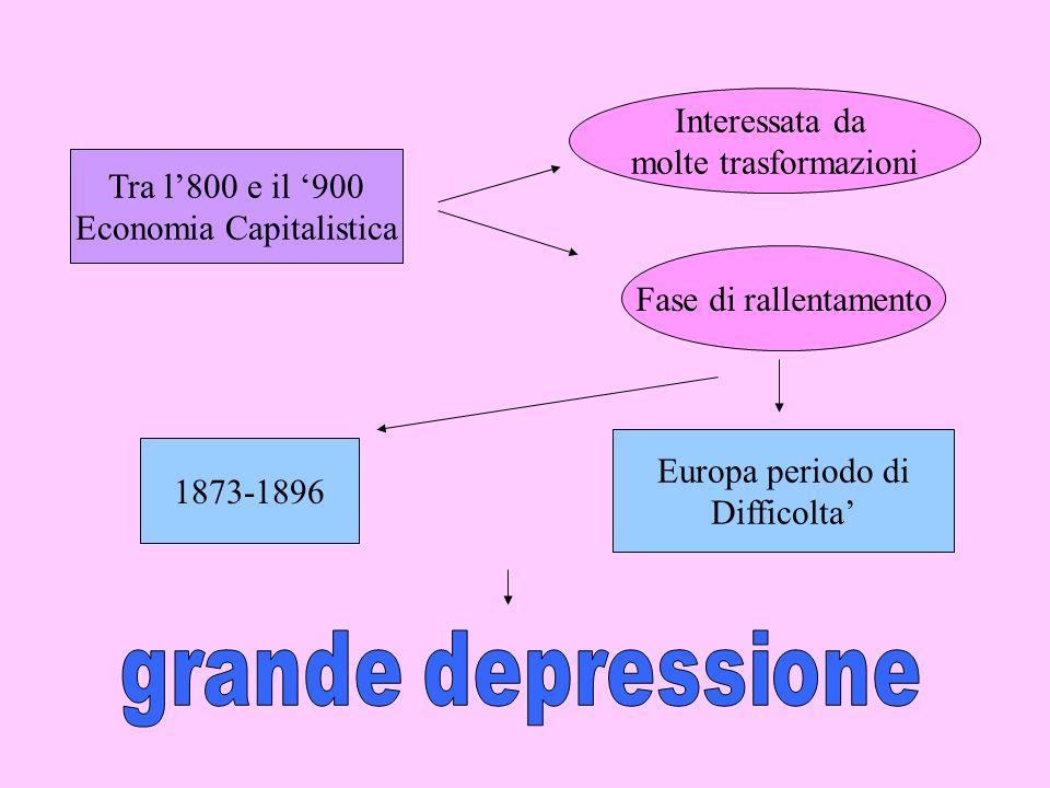 Tra l800 e il 900 Economia Capitalistica Interessata da molte trasformazioni Fase di rallentamento 1873-1896 Europa periodo di Difficolta