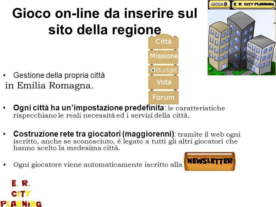 Gioco on-line da inserire sul sito della regione Gestione della propria città in Emilia Romagna.