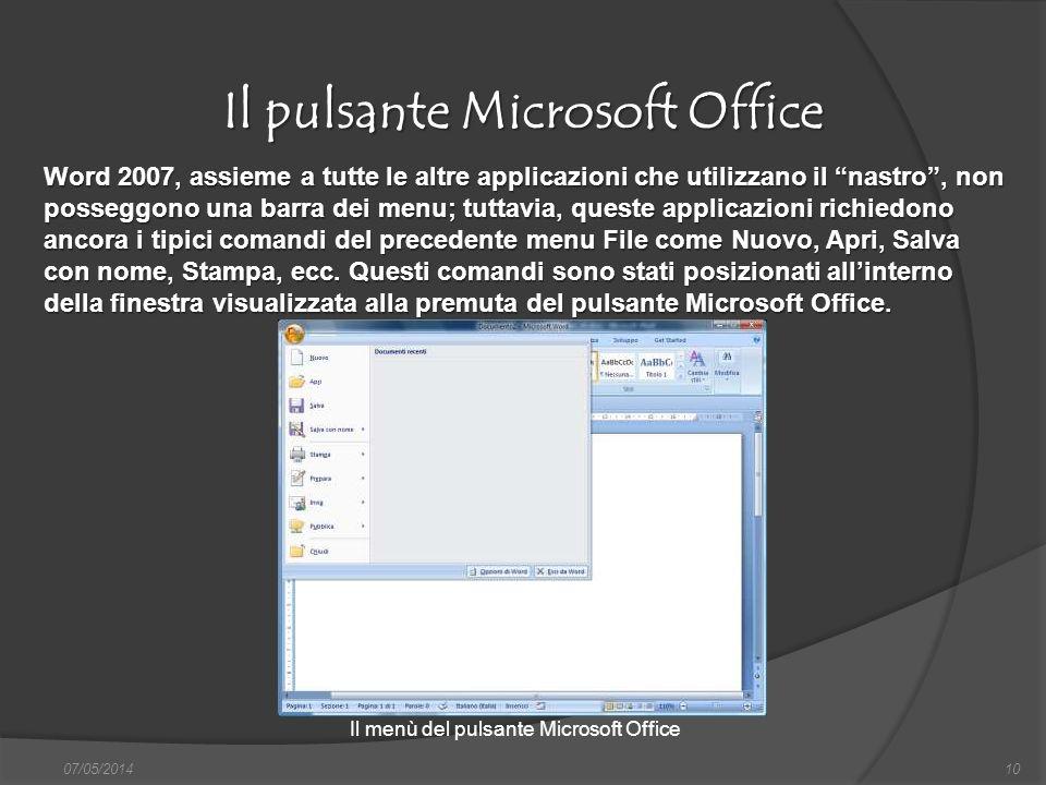 Il pulsante Microsoft Office 07/05/201410 Word 2007, assieme a tutte le altre applicazioni che utilizzano il nastro, non posseggono una barra dei menu