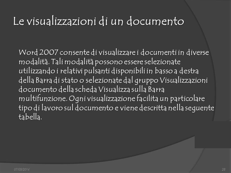 Le visualizzazioni di un documento 07/05/201428 Word 2007 consente di visualizzare i documenti in diverse modalità. Tali modalità possono essere selez