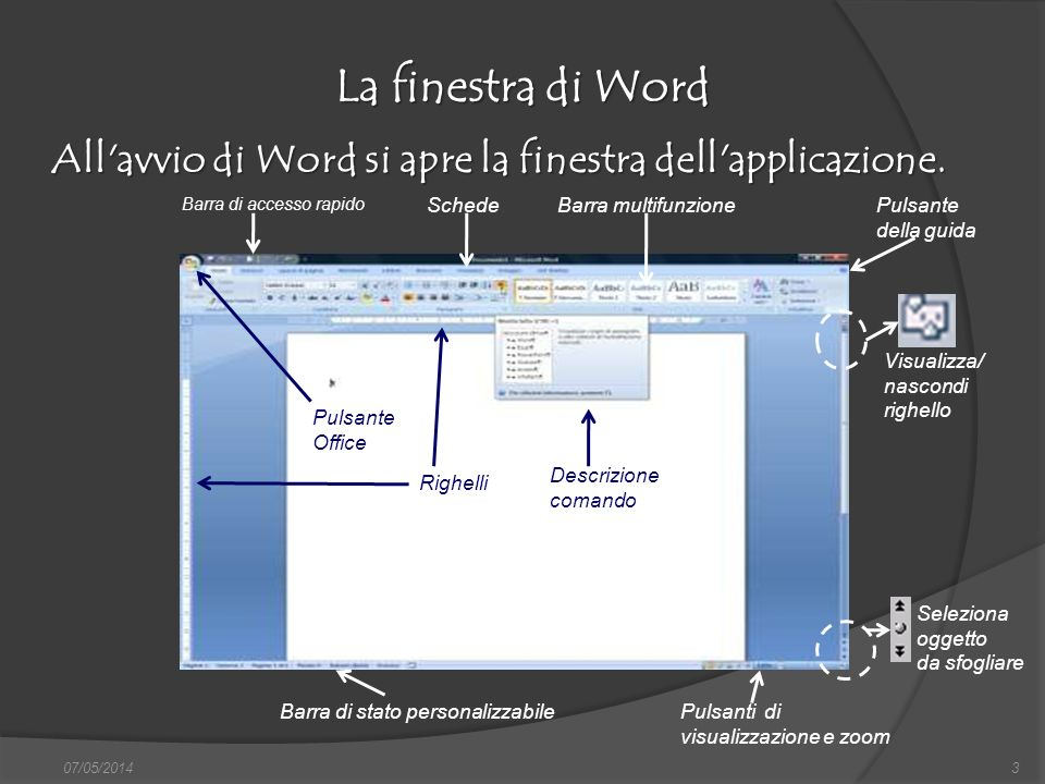 La barra multifunzione 07/05/20144 La barra multifunzione o nastro è la grande novità introdotta da Microsoft per Word, Excel, Access, PowerPoint e Outlook.
