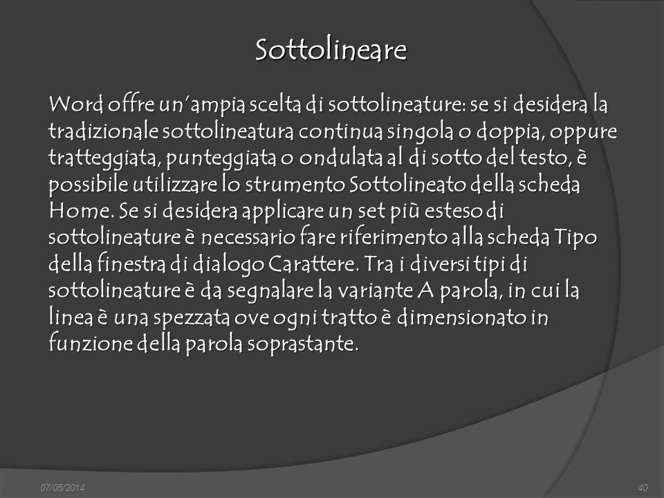 07/05/201440 Sottolineare finestra di dialogo Nuovo, nella quale si può scegliere sia il documento vuoto, sia un altro documento tipo, da scegliere tr