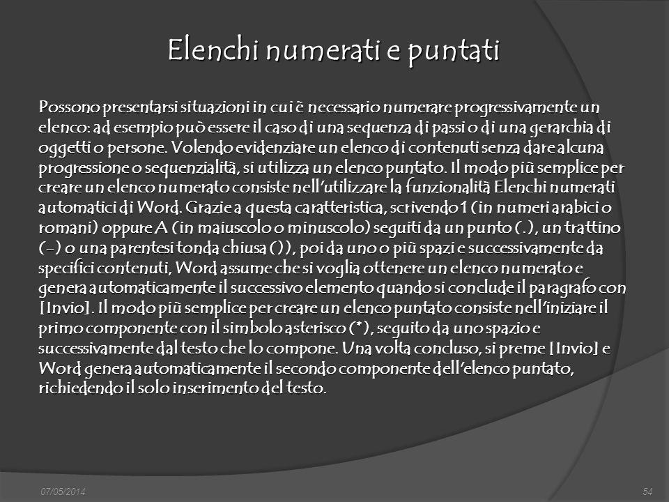 07/05/201454 Elenchi numerati e puntati finestra di dialogo Nuovo, nella quale si può scegliere sia il documento vuoto, sia un altro documento tipo, d