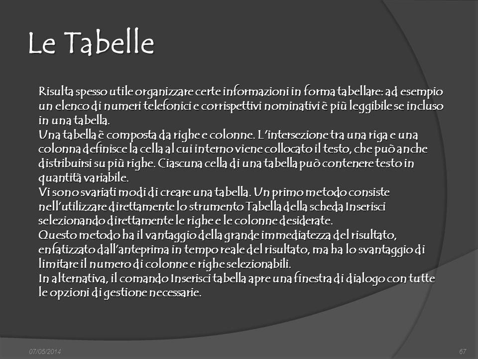07/05/201467 Le Tabelle Risulta spesso utile organizzare certe informazioni in forma tabellare: ad esempio un elenco di numeri telefonici e corrispett