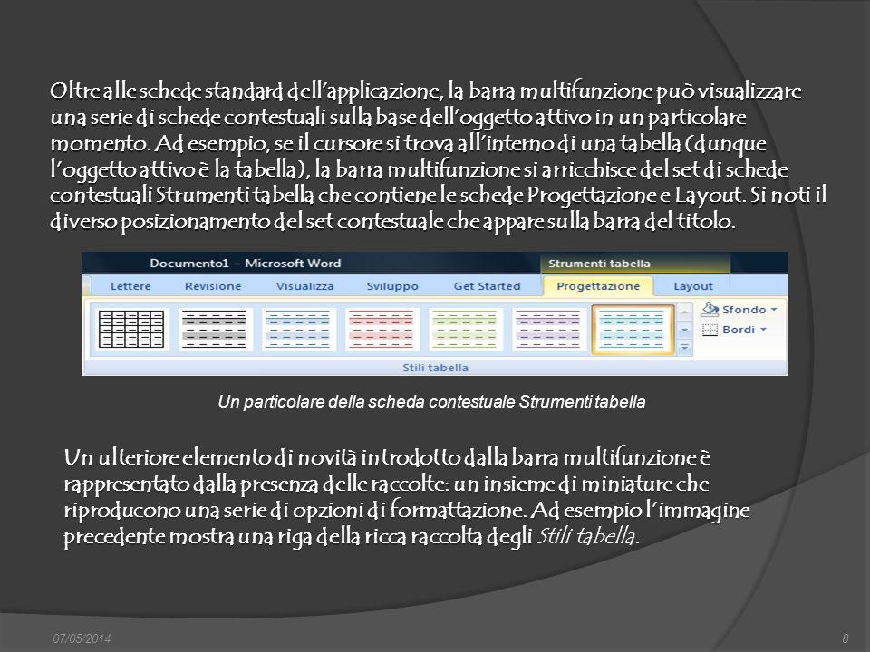 07/05/20148 Oltre alle schede standard dellapplicazione, la barra multifunzione può visualizzare una serie di schede contestuali sulla base delloggett