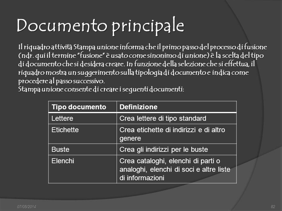 Documento principale 07/05/201482 Il riquadro attività Stampa unione informa che il primo passo del processo di fusione (ndr. qui il termine fusione è