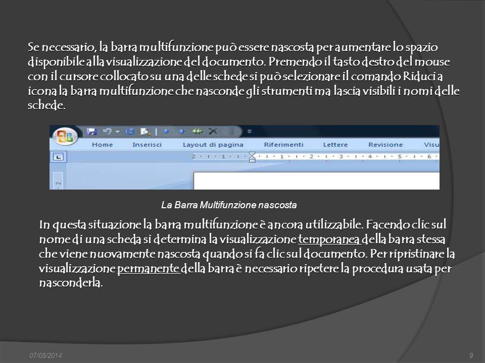 Il pulsante Microsoft Office 07/05/201410 Word 2007, assieme a tutte le altre applicazioni che utilizzano il nastro, non posseggono una barra dei menu; tuttavia, queste applicazioni richiedono ancora i tipici comandi del precedente menu File come Nuovo, Apri, Salva con nome, Stampa, ecc.