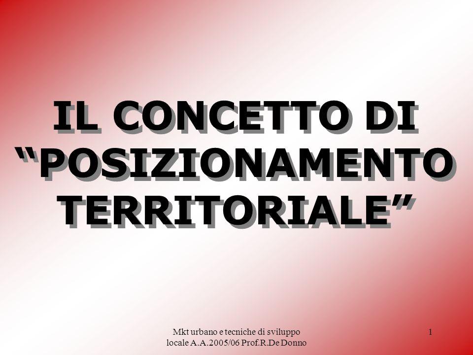 Mkt urbano e tecniche di sviluppo locale A.A.2005/06 Prof.R.De Donno 1 IL CONCETTO DI POSIZIONAMENTO TERRITORIALE