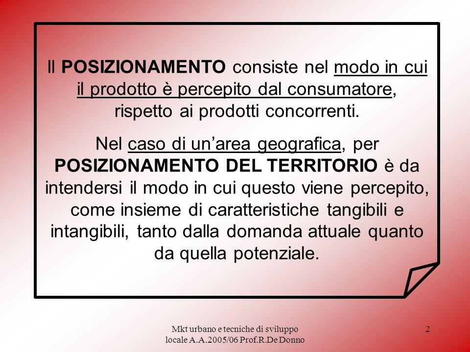 Mkt urbano e tecniche di sviluppo locale A.A.2005/06 Prof.R.De Donno 2 Il POSIZIONAMENTO consiste nel modo in cui il prodotto è percepito dal consumatore, rispetto ai prodotti concorrenti.