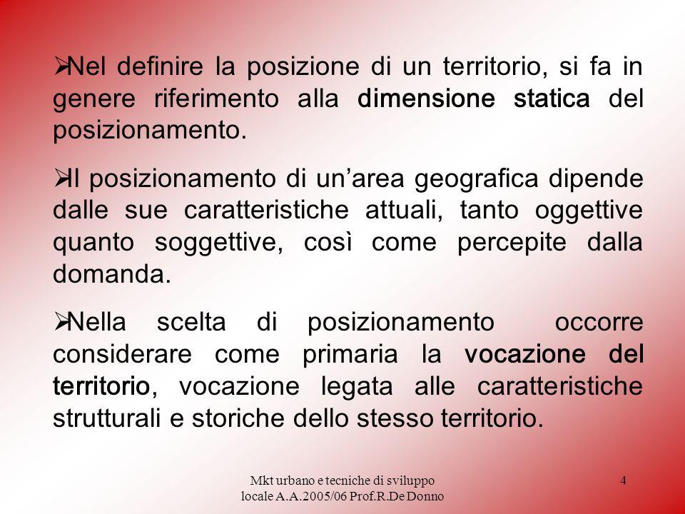 Mkt urbano e tecniche di sviluppo locale A.A.2005/06 Prof.R.De Donno 4 Nel definire la posizione di un territorio, si fa in genere riferimento alla dimensione statica del posizionamento.