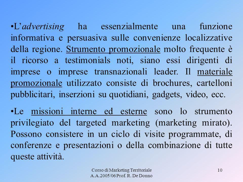 Corso di Marketing Territoriale A.A.2005/06 Prof. R. De Donno 10 Ladvertising ha essenzialmente una funzione informativa e persuasiva sulle convenienz