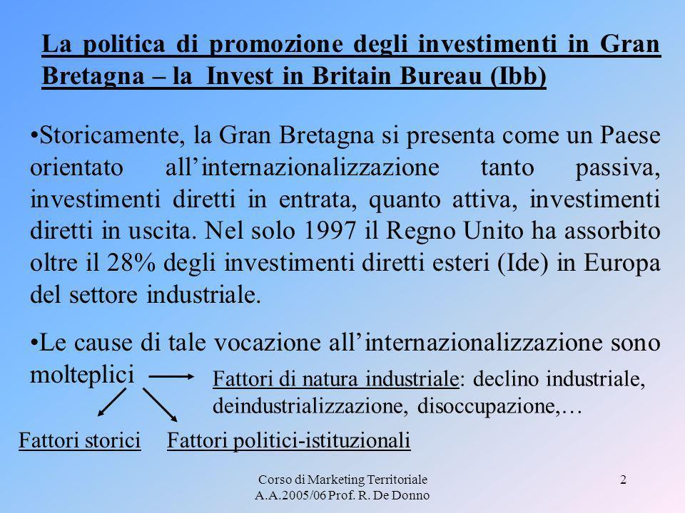 Corso di Marketing Territoriale A.A.2005/06 Prof. R. De Donno 2 Storicamente, la Gran Bretagna si presenta come un Paese orientato allinternazionalizz