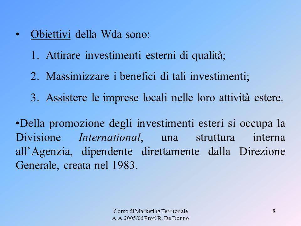 Corso di Marketing Territoriale A.A.2005/06 Prof. R. De Donno 8 Obiettivi della Wda sono: 1.Attirare investimenti esterni di qualità; 2.Massimizzare i