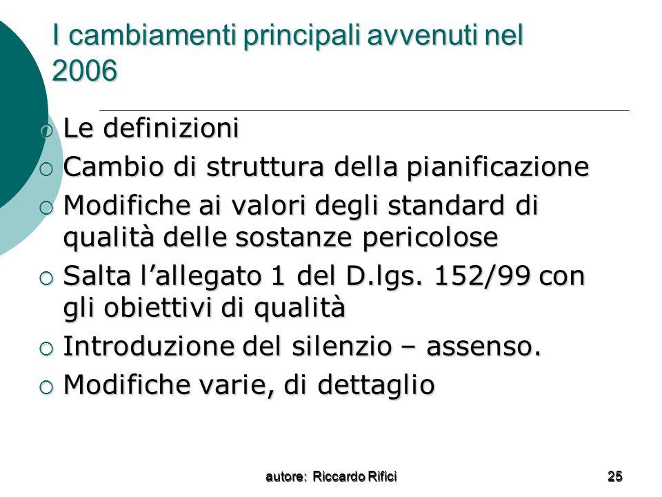 autore: Riccardo Rifici 25 I cambiamenti principali avvenuti nel 2006 Le definizioni Le definizioni Cambio di struttura della pianificazione Cambio di