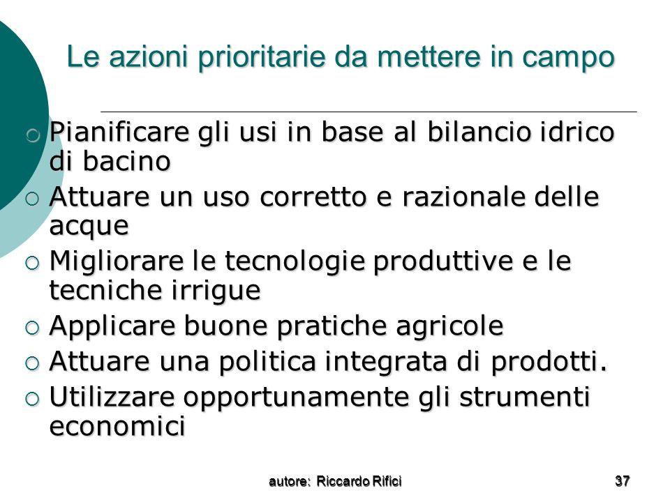 autore: Riccardo Rifici 37 Le azioni prioritarie da mettere in campo Pianificare gli usi in base al bilancio idrico di bacino Pianificare gli usi in b