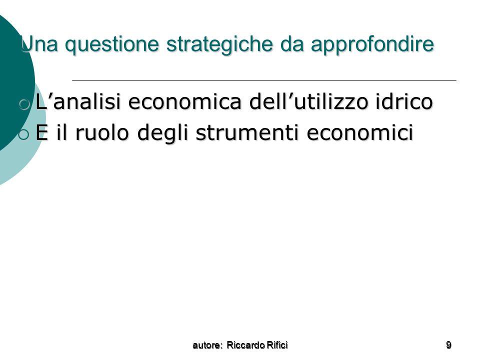 autore: Riccardo Rifici 9 Una questione strategiche da approfondire Lanalisi economica dellutilizzo idrico Lanalisi economica dellutilizzo idrico E il