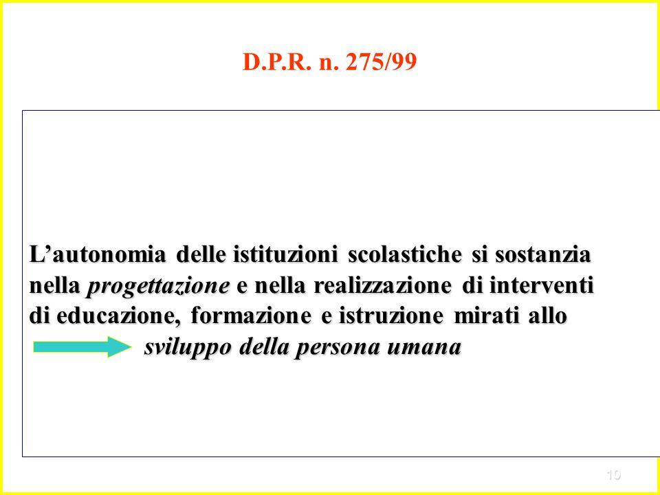 10 D.P.R. n. 275/99 Lautonomia delle istituzioni scolastiche si sostanzia nella progettazione e nella realizzazione di interventi di educazione, forma