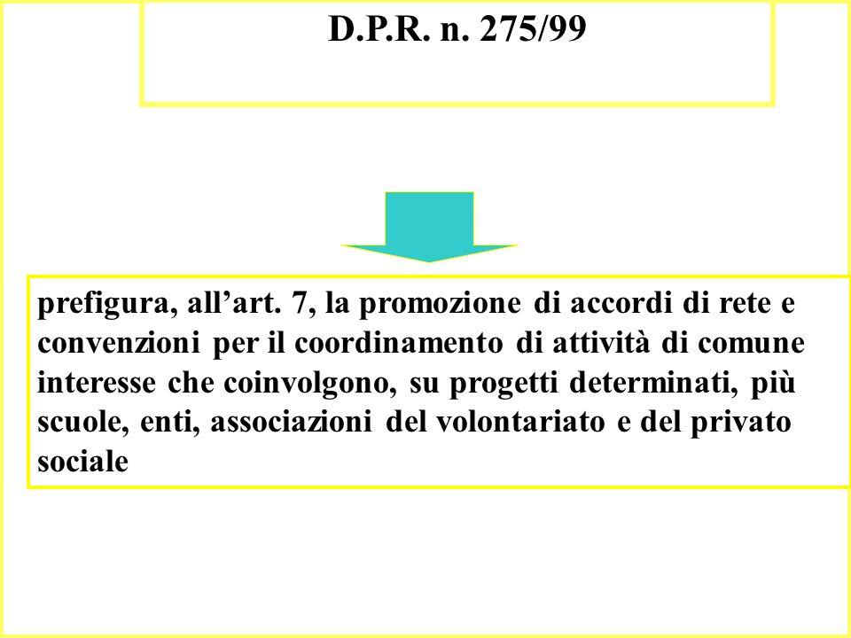 12 D.P.R. n. 275/99 prefigura, allart. 7, la promozione di accordi di rete e convenzioni per il coordinamento di attività di comune interesse che coin