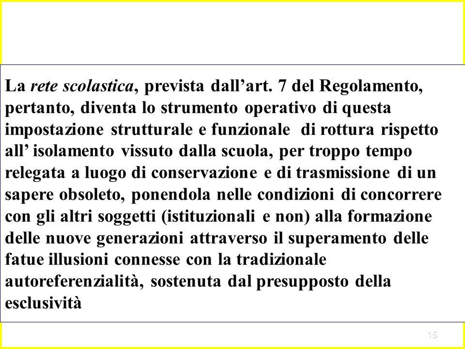 15 La rete scolastica, prevista dallart. 7 del Regolamento, pertanto, diventa lo strumento operativo di questa impostazione strutturale e funzionale d