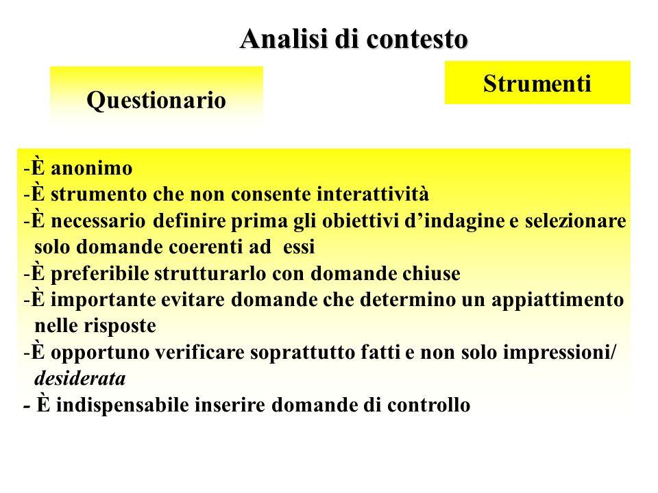 36 Analisi di contesto Questionario -È anonimo -È strumento che non consente interattività -È necessario definire prima gli obiettivi dindagine e sele