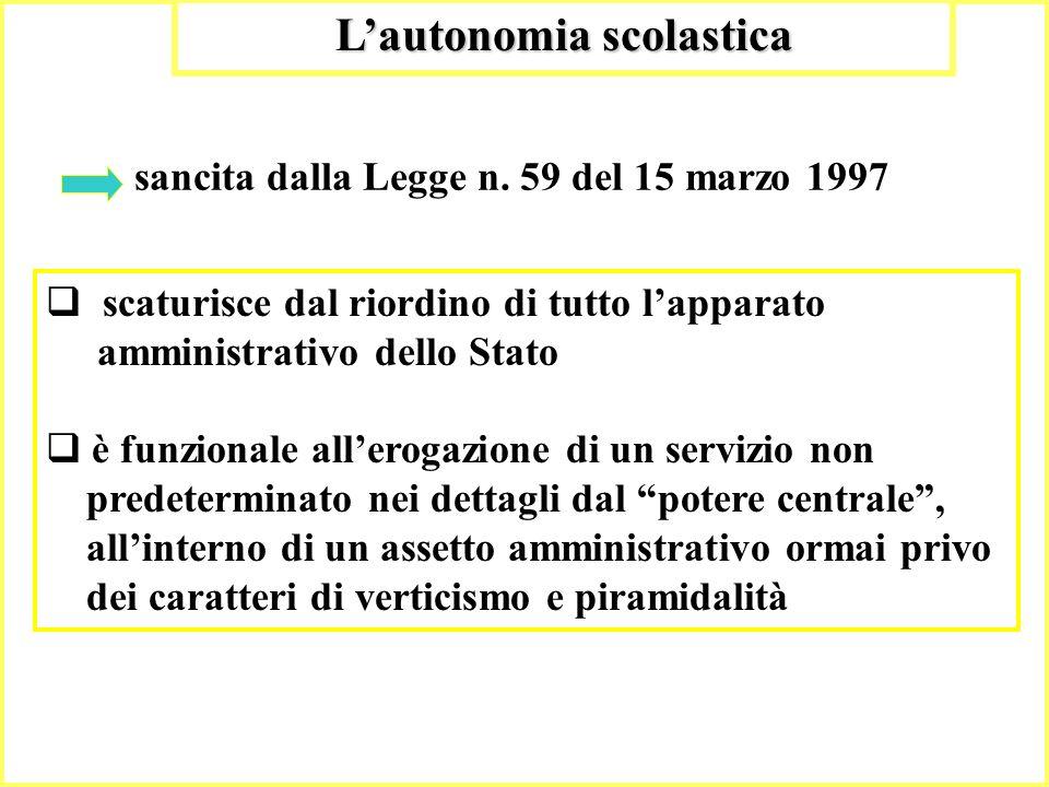 7 Lautonomia scolastica sancita dalla Legge n. 59 del 15 marzo 1997 scaturisce dal riordino di tutto lapparato amministrativo dello Stato è funzionale