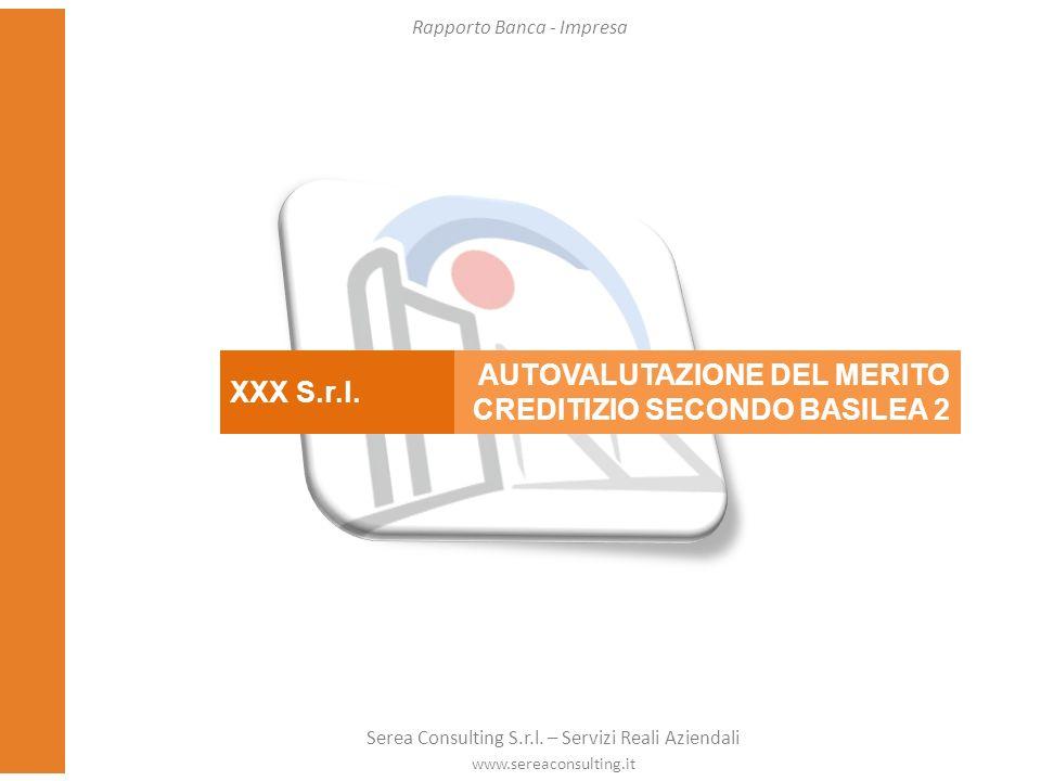 XXX S.r.l. AUTOVALUTAZIONE DEL MERITO CREDITIZIO SECONDO BASILEA 2 Rapporto Banca - Impresa Serea Consulting S.r.l. – Servizi Reali Aziendali www.sere
