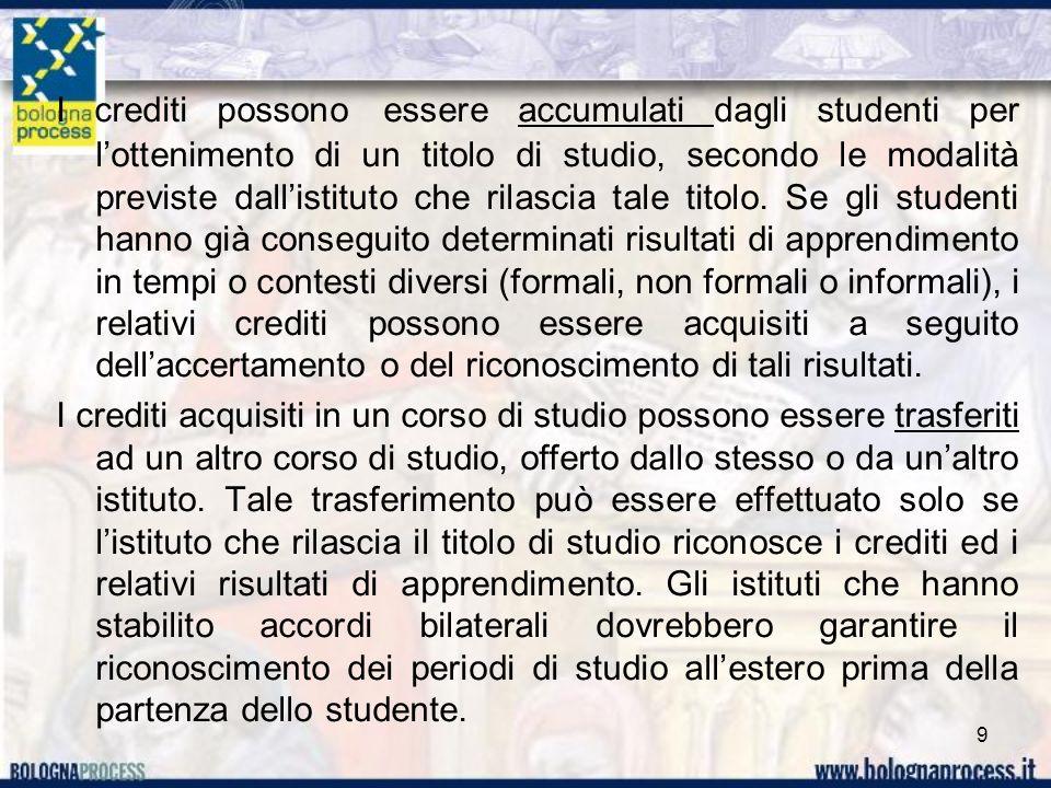 I crediti possono essere accumulati dagli studenti per lottenimento di un titolo di studio, secondo le modalità previste dallistituto che rilascia tal