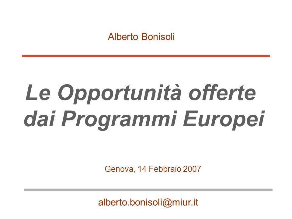 Le Opportunità offerte dai Programmi Europei Genova, 14 Febbraio 2007 Alberto Bonisoli alberto.bonisoli@miur.it