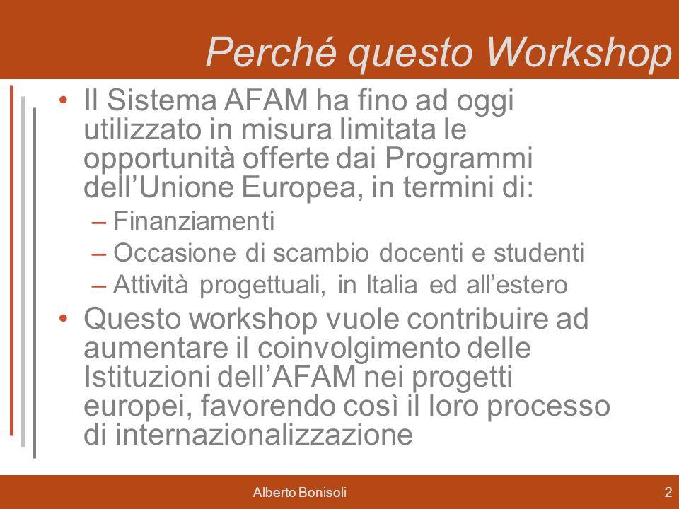 Alberto Bonisoli2 Perché questo Workshop Il Sistema AFAM ha fino ad oggi utilizzato in misura limitata le opportunità offerte dai Programmi dellUnione