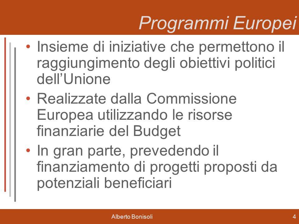 Alberto Bonisoli4 Programmi Europei Insieme di iniziative che permettono il raggiungimento degli obiettivi politici dellUnione Realizzate dalla Commissione Europea utilizzando le risorse finanziarie del Budget In gran parte, prevedendo il finanziamento di progetti proposti da potenziali beneficiari