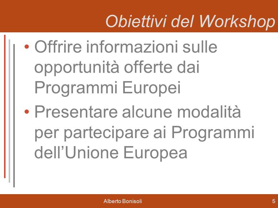 Alberto Bonisoli5 Obiettivi del Workshop Offrire informazioni sulle opportunità offerte dai Programmi Europei Presentare alcune modalità per partecipa
