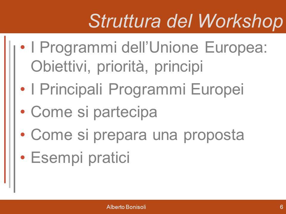 Alberto Bonisoli6 Struttura del Workshop I Programmi dellUnione Europea: Obiettivi, priorità, principi I Principali Programmi Europei Come si partecipa Come si prepara una proposta Esempi pratici