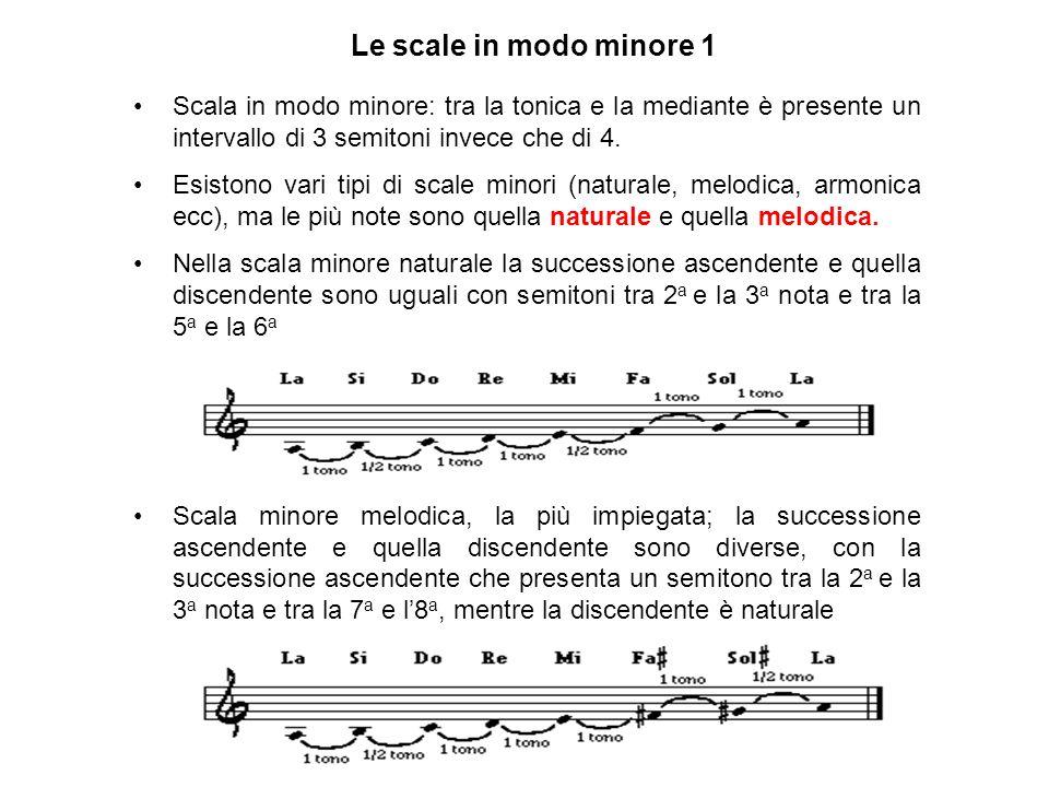 Scala in modo minore: tra la tonica e la mediante è presente un intervallo di 3 semitoni invece che di 4. Esistono vari tipi di scale minori (naturale