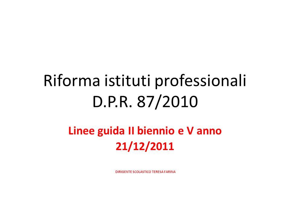 Riforma istituti professionali D.P.R. 87/2010 Linee guida II biennio e V anno 21/12/2011 DIRIGENTE SCOLASTICO TERESA FARINA