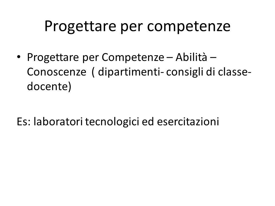 Progettare per competenze Progettare per Competenze – Abilità – Conoscenze ( dipartimenti- consigli di classe- docente) Es: laboratori tecnologici ed
